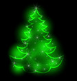 a christmas tree sparkling on a black background vector image vector image