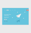 airplane landing success business web page vector image vector image