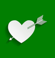arrow heart sign paper whitish icon with vector image vector image