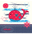 babackground with cute patchwork whale vector image vector image