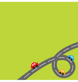 Background with loop road and cartoon cars vector image vector image