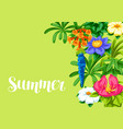 background with tropical flowers exotic tropical vector image vector image