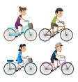 bicycle isolate people collection set vector image