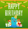 birthday card with funny alien on green background vector image vector image