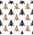 black and gold christmas tree seamless pattern vector image vector image