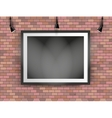 black photo frame on brick wall vector image vector image