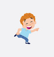 blond boy in jeans running smiling vector image