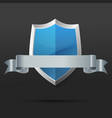 blue and silver shield with ribbon vector image vector image
