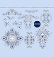 blue baroque elements isolated vector image