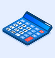 blue calculator icon isometric style vector image vector image