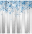 Blue falling snowflakes on wooden background vector image vector image