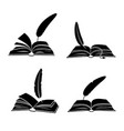 books and feathers silhouette isolated vector image