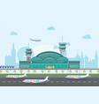 building airport with runway and plane vector image vector image
