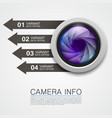 camera info banner art creative vector image vector image