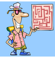 cartoon man with a backpack shows a map vector image