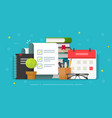 check list document on desktop workplace vector image