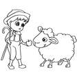 Coloring book child feeding sheep vector image vector image