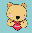 cute bear with love red heart cartoon vector image vector image