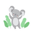 cute cheerful koala bear standing on two legs vector image vector image