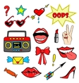 Cute fashion patch badges with lips handtape vector image vector image