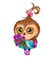 cute owl holding the wing of a bouquet of flowers vector image vector image