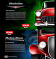 digital red old retro car close up mockup vector image vector image
