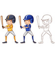 doodle character for baseball player vector image vector image