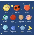 Educational game learn planets of solar system vector image vector image