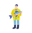 elderly fisher flat gray vector image