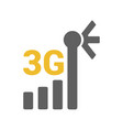 flat 3g logo with mobile signal strength indicator vector image vector image