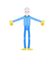 flat elderly man in sportsuit dumbbell lift vector image vector image