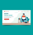 freelance work - man with laptop on chair vector image vector image