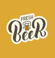 fresh beer sticker on yellow background