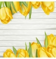 Fresh yellow tulips on wooden background EPS 10 vector image vector image
