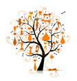 ginger cats on tree branches silhouette for your vector image