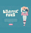 Girl with cat lies reading book literature fan