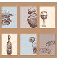 hand drawn food sketch cards for menu restaurant vector image vector image