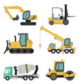 heavy construction machinery flat icon set vector image vector image