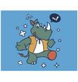 hipster rhinoceros cartoon t shirt design vector image vector image