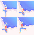 isometric young girl doing yoga day pose asana vector image