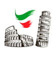 italy colosseum leaning tower of pisa vector image