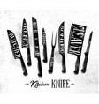 kitchen meat cutting knifes poster chalk vector image vector image