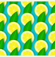 lemon with green leaves seamless pattern vector image vector image