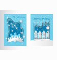 merry christmas greeting postcards with houses vector image vector image