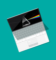 modern open laptop computer with prism on screen vector image vector image