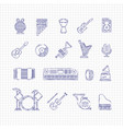 music concert instruments thin line icons vector image