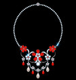 necklace with diamonds and rubies vector image vector image