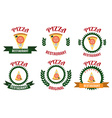 Pizza logo set vector image vector image