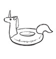 rainbow unicorn swim ring pool float swimming vector image