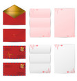 red envelopes and blank letter papers template set vector image vector image